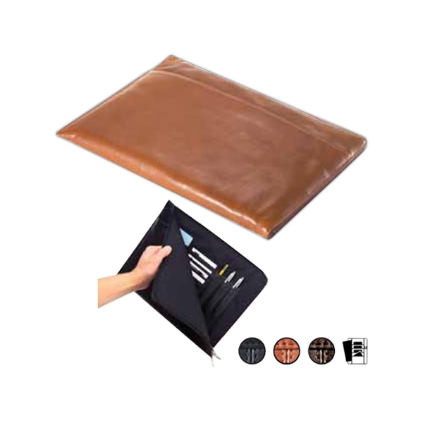 Tuscan Leather Document Holder With L Shaped Zipper And Full Length Pocket Photo