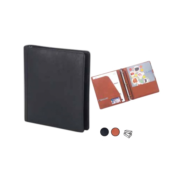 Open Three Ring Binder With Two Document Pockets And Interior Pocket Photo
