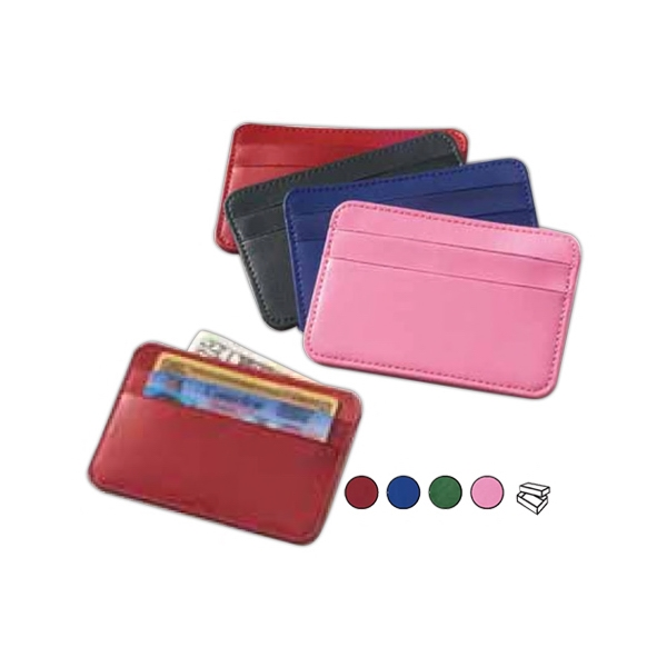 Colored Leather Slim Card Case With Two Pockets, Id And Business Cards And Money Photo