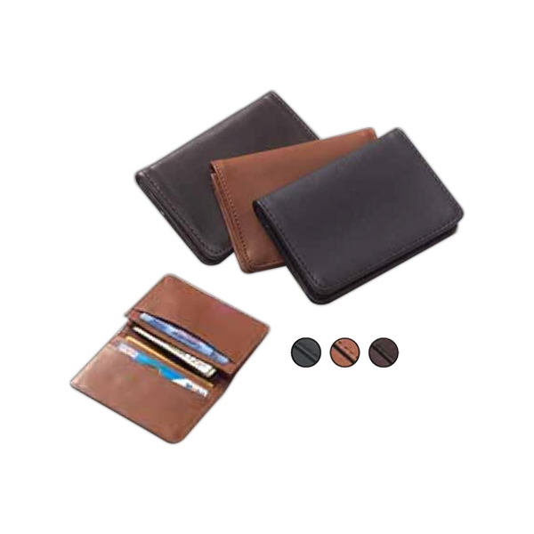 Leather, Bi Fold Flap Over Card Holder Wallet With Slim Design Photo