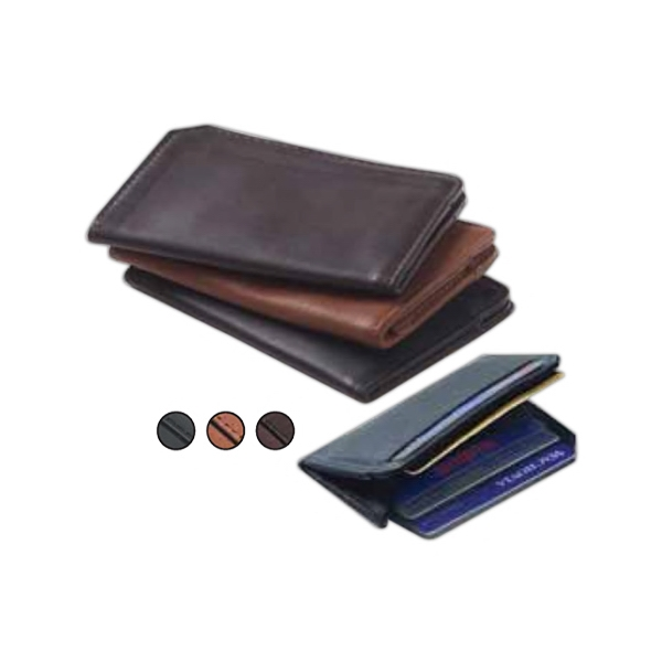 Leather Front Id Card Holder With L Shaped Gusset With Six Card Slots Photo