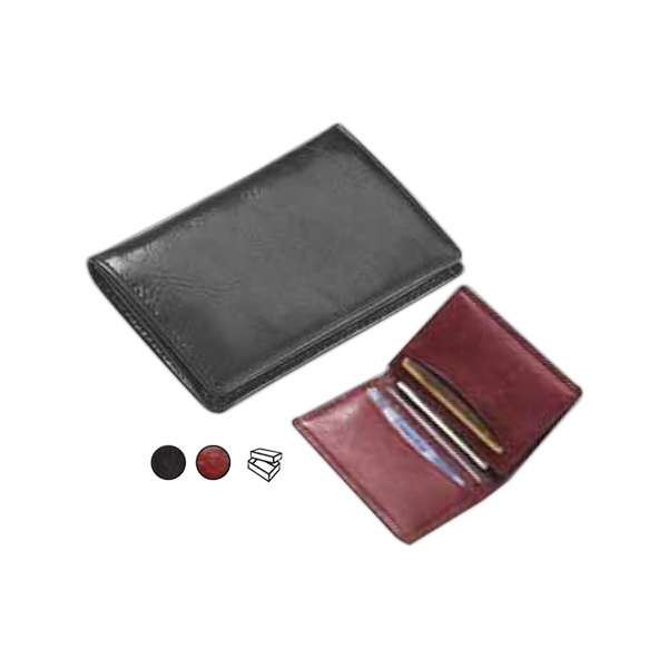 Glazed Leather Business Card Wallet With Gusseted Pocket On One Side Photo