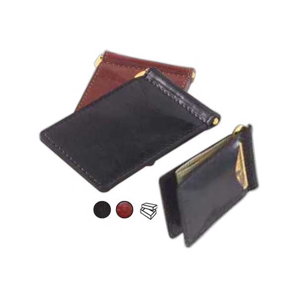 Glazed Leather Money Clip With Two Exterior Pockets For Id And Credit Cards Photo