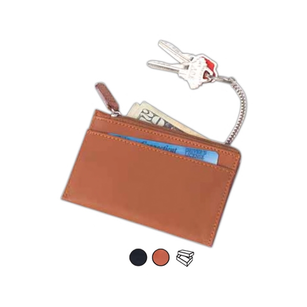 Leather Zip Wallet Key Chain, Zip Pocket With Fully Lined Interior Photo