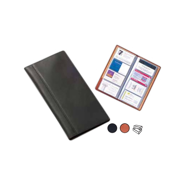 Leather Business Card Organizer With 15 Pages With Four Sleeves, Holds 120 Cards Photo
