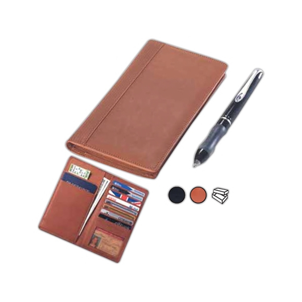 Leather Passport Wallet With Eight Credit Card Slots, Id Case And Two Bill Pockets Photo