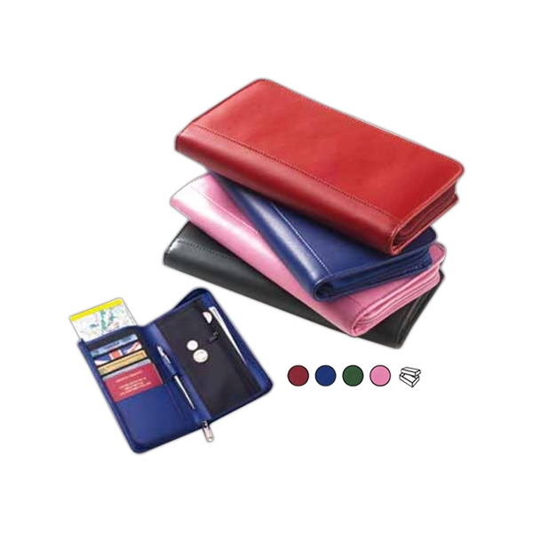 Colored Leather Passport Wallet With Interior Organizer With Credit Card Slots Photo