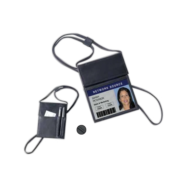 "Leather Badge Holder With Clear Id Panel And Velcro Flap, Adjustable 27"" Neck Strap Photo"