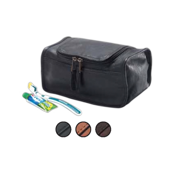 Leather Shaving/cosmetic Case With U Shaped Zipper, Full Lined Interior Photo