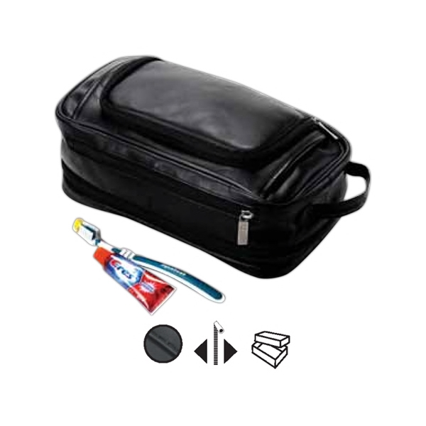 Leather Expandable Toiletry Case With Easy Access Zip Opening Photo