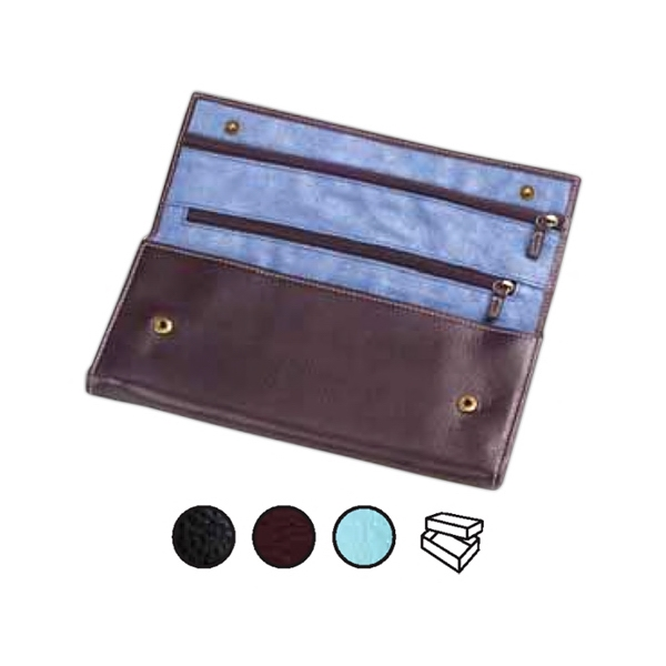 Leather Jewelry Roll With Three Interior Zipper Pockets And Snap Pocket Photo