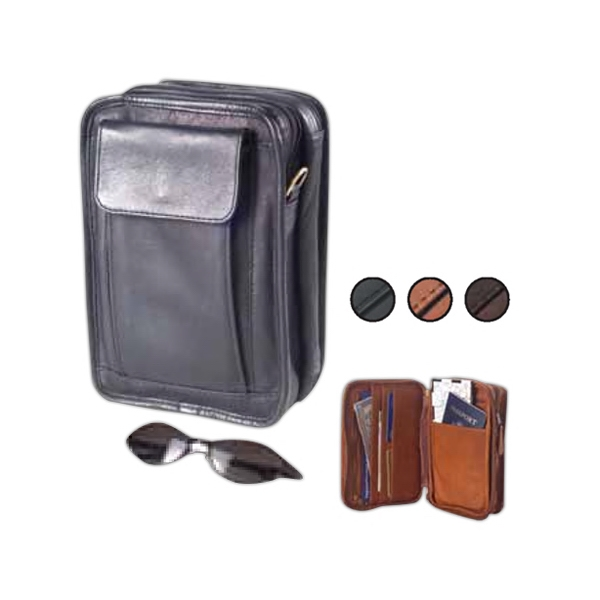 Leather Multi-compartment Carryall, Roomy Enough For Camera, Maps, Books Photo