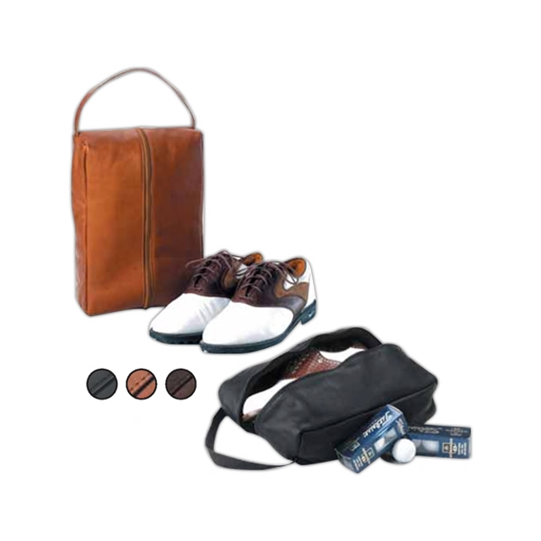 Leather Golf Shoe Bag, Fleece Lined With Zipped Pocket Divider Photo