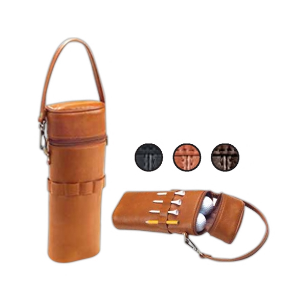 Leather Golf Ball Carrier, Holds 10 Balls And 9 Tees Photo