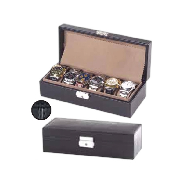 Leather Watch Box, Holds Up To Six Wrist Watches, Fully Lined With Velvet Photo