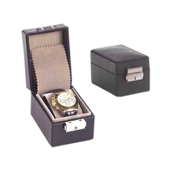 Single Watch Box With Molded Wrist To Hold Watch In Place, Lid With Jewelry Pouch Photo