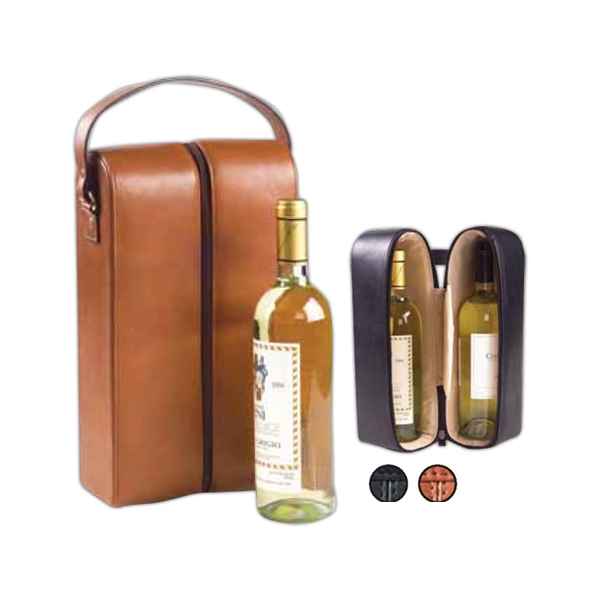Padded Two Bottle Wine Holder With Protective Brass Feet Photo