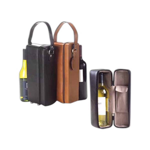 One Bottle Padded Wine Holder/carrier With Protective Brass Fee Photo