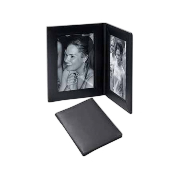 "Double 5"" X 7"" Fold Over Frame Made With Leather Photo"