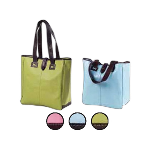 Colored Leather Oversized Tote With Cafe Accents With Contrast Stitching Photo
