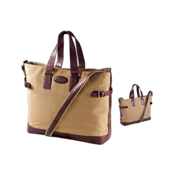 Canvas Everyday Tote With Leather Trim Photo
