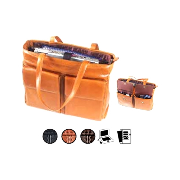 Pocket Laptop Tote With A Main Body That Zips Completely Closed Photo
