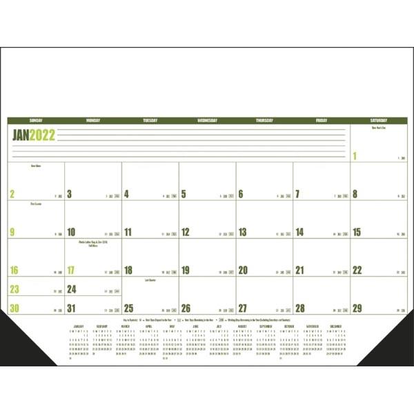 Multi-Colored 2022 Desk Calendar Pad with Vinyl Corners