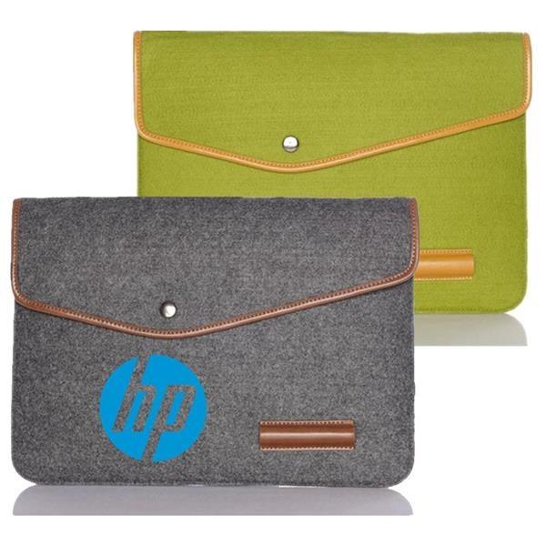Felt Laptop Sleeve w/ Leather Rim Flip Top & Button Closure