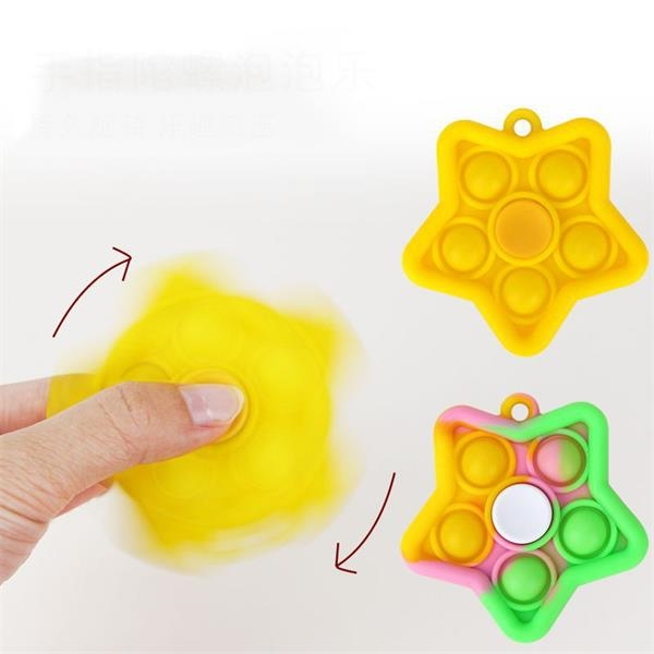 Star Shaped Stress Relief Silicone Fidgets Spinner Keychain