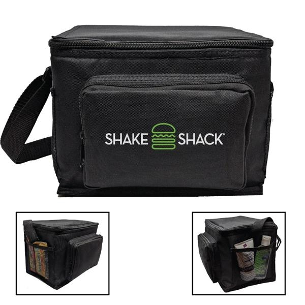 600D Polyester 6-Pack Cooler w/Side Pockets & Pouch