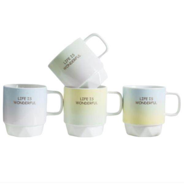 Unique Multi-color 17 oz Ceramic Gradient Tea Mug