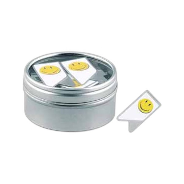 Keepaklip Paper Clips. Smiley Face Design In Metal Tin With Clear Window Lid Photo
