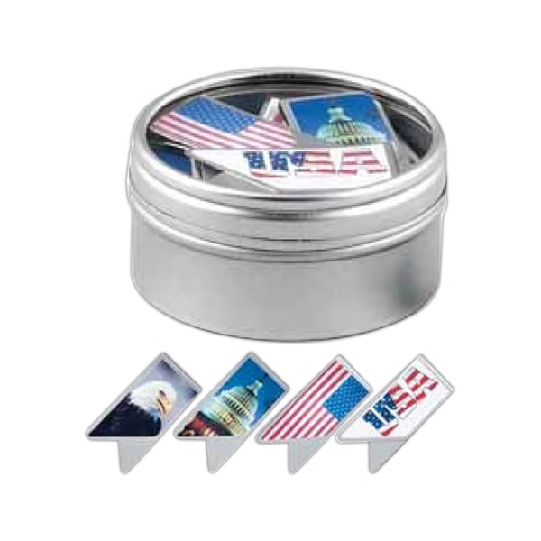 Keepaklip Paper Clips. 4 Patriotic Designs In Metal Tin With Clear Window Lid Photo