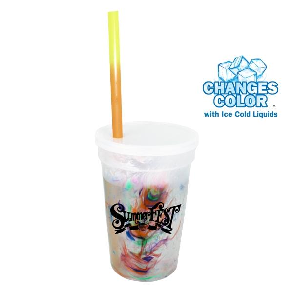 17 oz. Rainbow Confetti Mood Cup/Straw/Lid Set