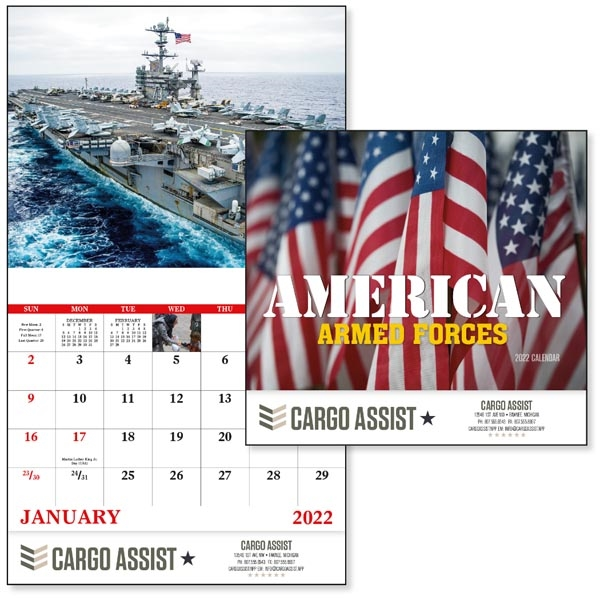 Stapled American Armed Forces 2022 Calendar