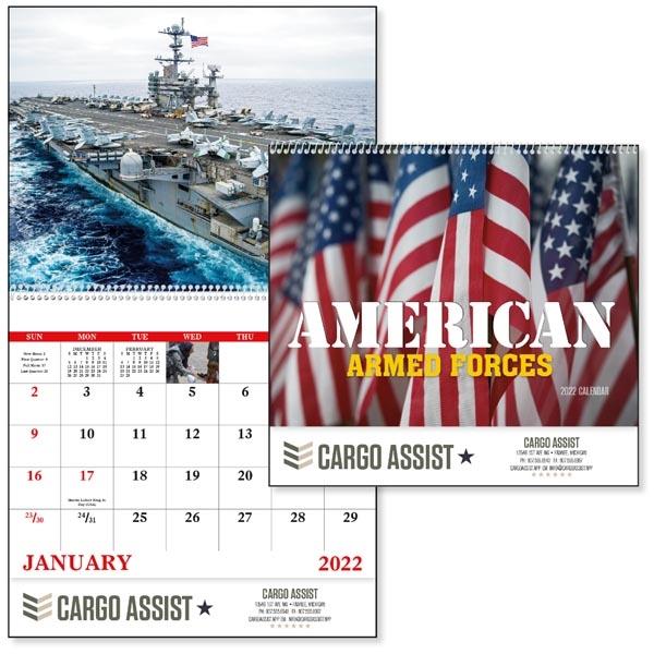 Spiral American Armed Forces 2022 Calendar