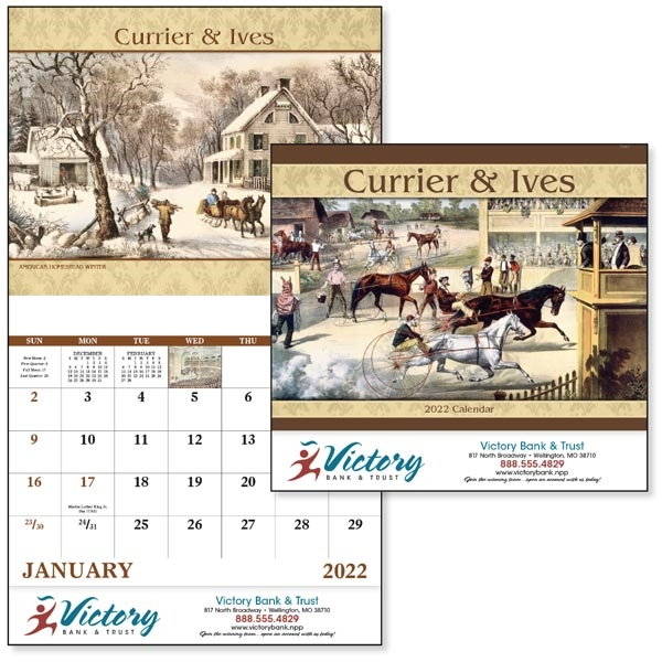 Stapled Currier & Ives Americana 2022 Appointment Calendar
