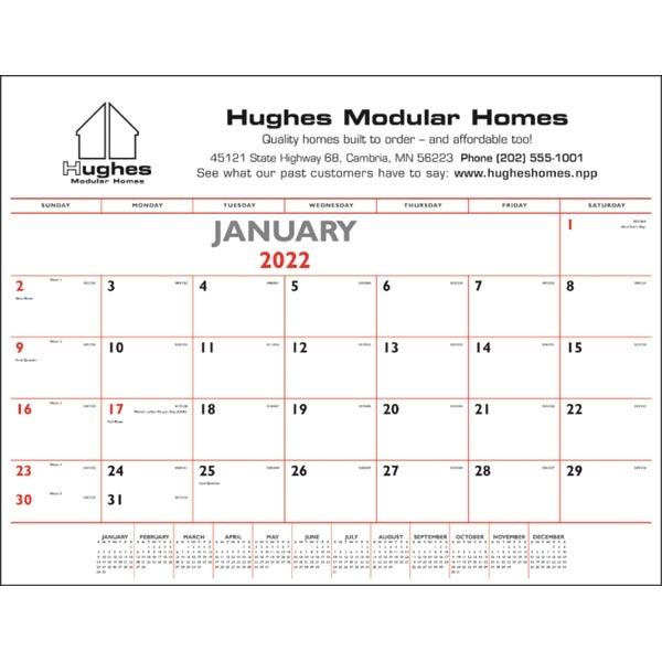 Red & Black 2022 Desk Calendar Pad