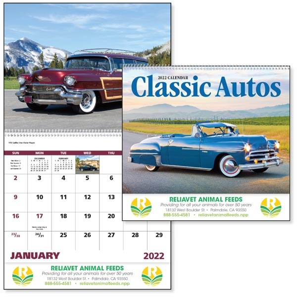 Spiral Classic Autos Vehicle 2022 Appointment Calendar