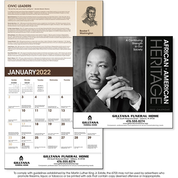 African-American Heritage - Dr. M Luther King, Jr Calendar