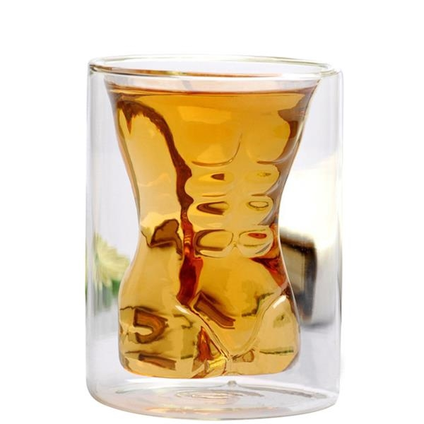 6oz Glass Cup With Men Body High Borosilicate Creative Cup