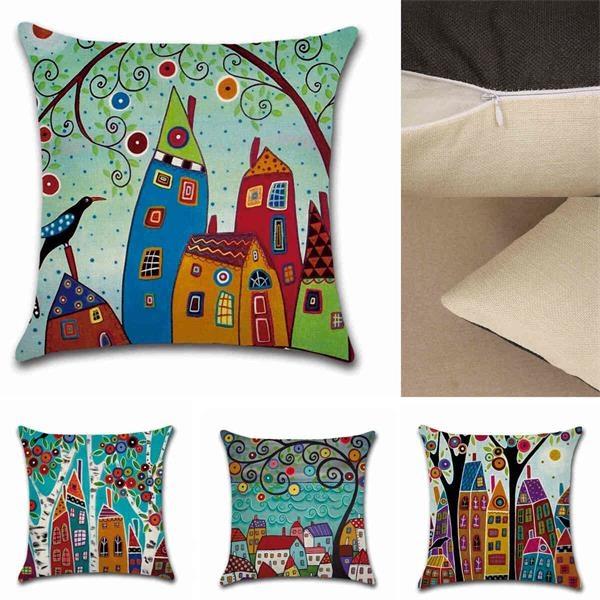 Cushion Home Living Room Bed Sofa Car Cotton Linen Square Pi
