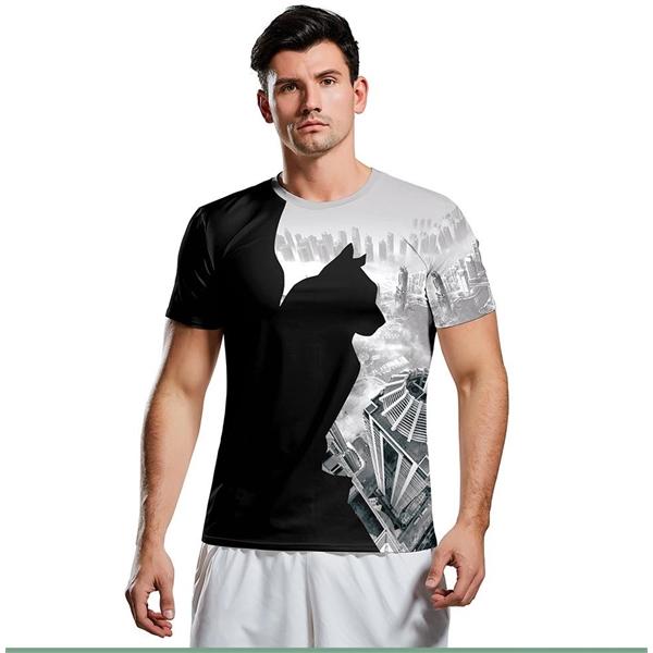 Men's round collar black cat print T-shirt