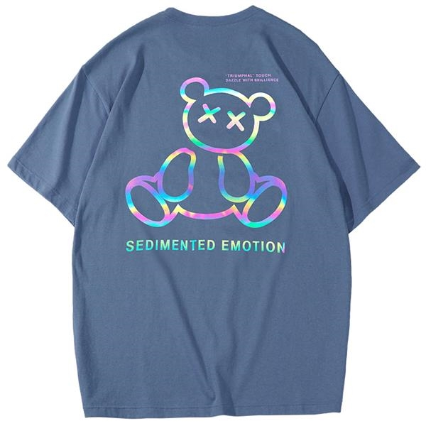 Women's loose colorful bear reflective short-sleeved T-shirt