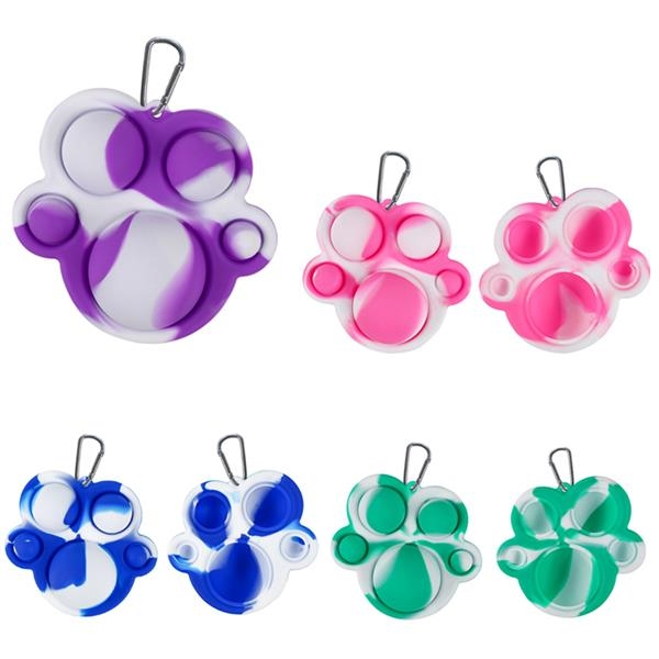 Silicone Bear Paw Push Popper Bubble Figent Toy Keychain