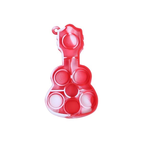 Silicone Guitar Simple Dimple Fidget Popper Keychain