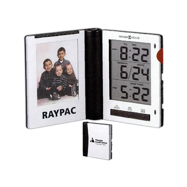 Photo Traveler - Folding Alarm Clock With Photo Holder And Dual Time Zones Photo