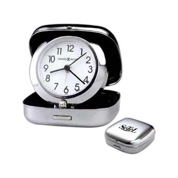 Clam Shell Alarm - Clam Shell Travel Alarm Clock With Polished Silver Finished Metal Case Photo
