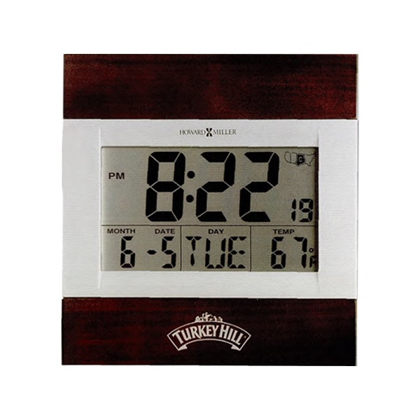 Techtime Iii - Two-tone Satin Silver Lcd Display Alarm Clock Photo
