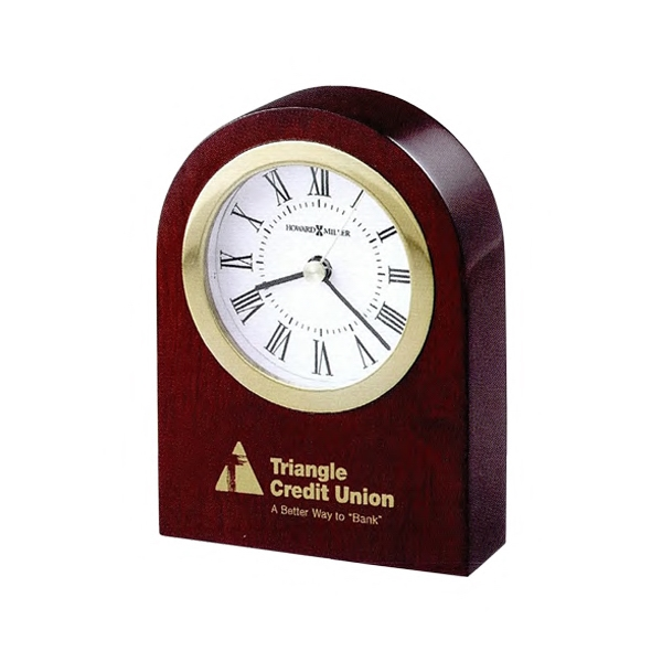 Rosebury Arch - Satin Rosewood Finished Arched Tabletop Clock With Felt Bottom Photo